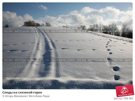 Следы на снежной горке, фото № 193163, снято 3 февраля 2008 г. (c) Игорь Веснинов / Фотобанк Лори