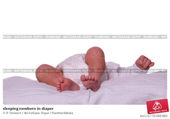 sleeping newborn in diaper. Стоковое фото, фотограф P Terwort / PantherMedia / Фотобанк Лори