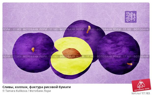 Сливы, коллаж, фактура рисовой бумаги, иллюстрация № 17183 (c) Tamara Kulikova / Фотобанк Лори