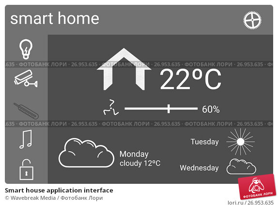 Купить «Smart house application interface», иллюстрация № 26953635 (c) Wavebreak Media / Фотобанк Лори