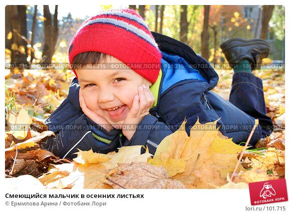 Купить «Смеющийся мальчик в осенних листьях», фото № 101715, снято 20 октября 2007 г. (c) Ермилова Арина / Фотобанк Лори