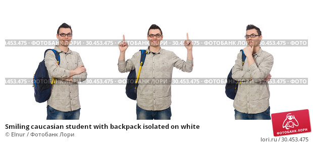 Smiling caucasian student with backpack isolated on white. Стоковое фото, фотограф Elnur / Фотобанк Лори