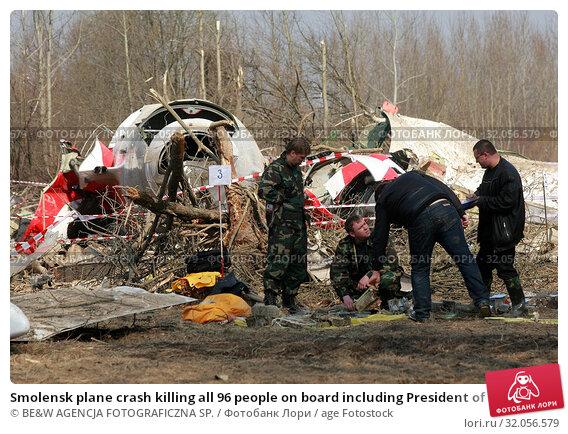 Smolensk plane crash killing all 96 people on board including President of Poland Lech Kaczynski, his wife Maria and other important politicians. Smolensk, April 10, 2010. Редакционное фото, фотограф BE&W AGENCJA FOTOGRAFICZNA SP. / age Fotostock / Фотобанк Лори