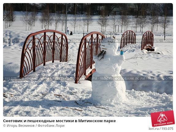 Снеговик и пешеходные мостики в Митинском парке, фото № 193075, снято 3 февраля 2008 г. (c) Игорь Веснинов / Фотобанк Лори