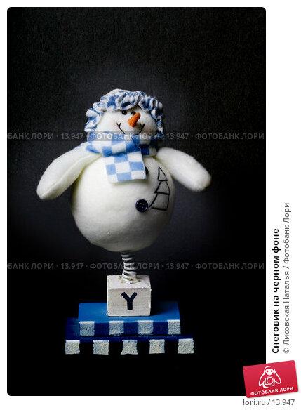 Снеговик на черном фоне, фото № 13947, снято 1 декабря 2006 г. (c) Лисовская Наталья / Фотобанк Лори