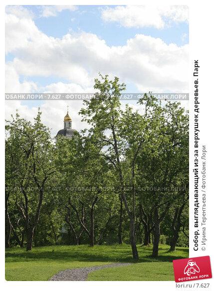 Собор, выглядывающий из-за верхушек деревьев. Парк, эксклюзивное фото № 7627, снято 1 июня 2006 г. (c) Ирина Терентьева / Фотобанк Лори