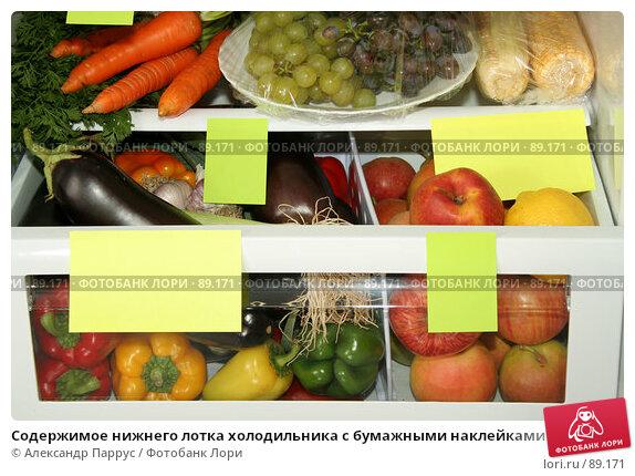 Купить «Содержимое нижнего лотка холодильника с бумажными наклейками», фото № 89171, снято 26 сентября 2007 г. (c) Александр Паррус / Фотобанк Лори