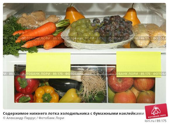 Содержимое нижнего лотка холодильника с бумажными наклейками, фото № 89175, снято 26 сентября 2007 г. (c) Александр Паррус / Фотобанк Лори