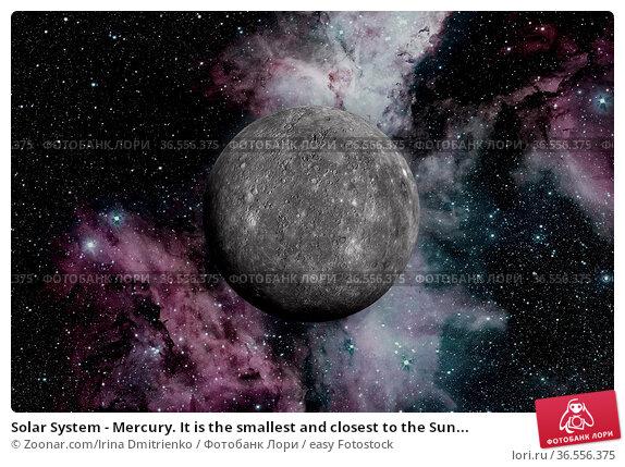 Solar System - Mercury. It is the smallest and closest to the Sun... Стоковое фото, фотограф Zoonar.com/Irina Dmitrienko / easy Fotostock / Фотобанк Лори