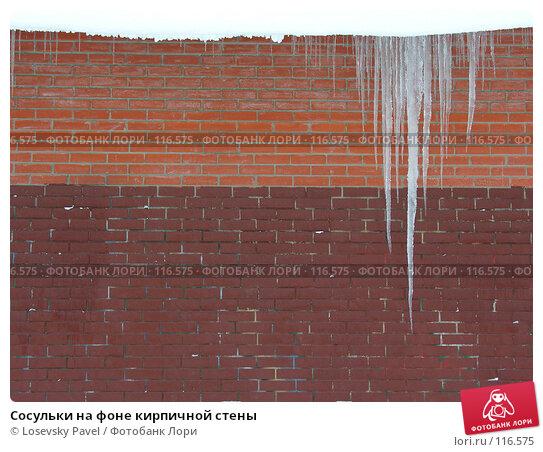 Купить «Сосульки на фоне кирпичной стены», фото № 116575, снято 22 декабря 2005 г. (c) Losevsky Pavel / Фотобанк Лори