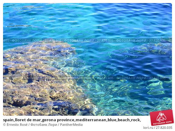 Купить «spain,lloret de mar,gerona province,mediterranean,blue,beach,rock,», фото № 27820035, снято 16 октября 2018 г. (c) PantherMedia / Фотобанк Лори