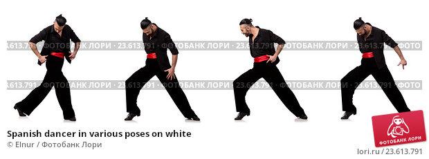 Купить «Spanish dancer in various poses on white», фото № 23613791, снято 21 июля 2019 г. (c) Elnur / Фотобанк Лори