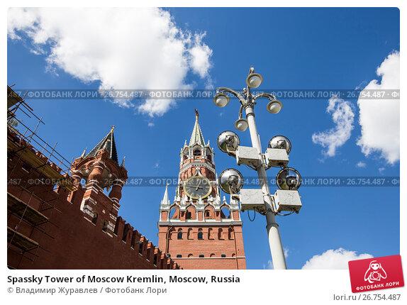 Spassky Tower of Moscow Kremlin, Moscow, Russia, фото № 26754487, снято 6 августа 2017 г. (c) Владимир Журавлев / Фотобанк Лори