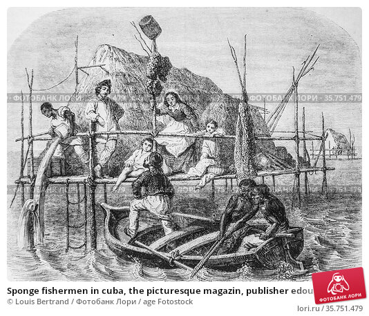 Sponge fishermen in cuba, the picturesque magazin, publisher edouard... (2009 год). Редакционное фото, фотограф Louis Bertrand / age Fotostock / Фотобанк Лори