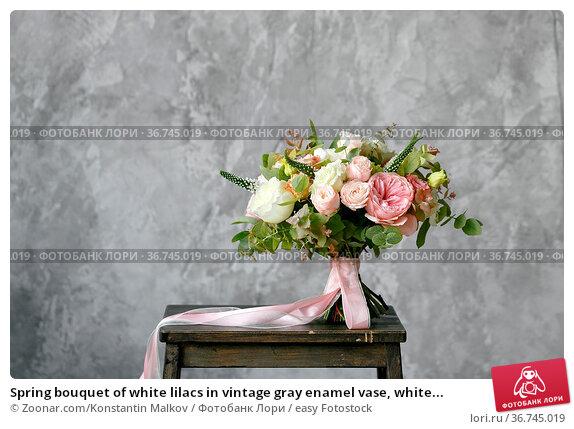 Spring bouquet of white lilacs in vintage gray enamel vase, white... Стоковое фото, фотограф Zoonar.com/Konstantin Malkov / easy Fotostock / Фотобанк Лори