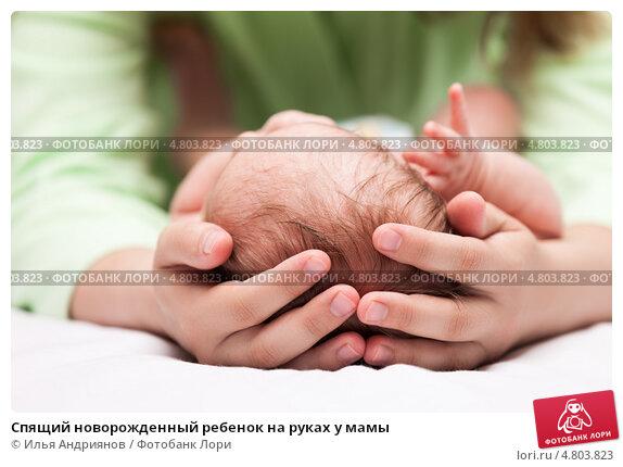 Купить «Спящий новорожденный ребенок на руках у мамы», фото № 4803823, снято 23 июня 2013 г. (c) Илья Андриянов / Фотобанк Лори