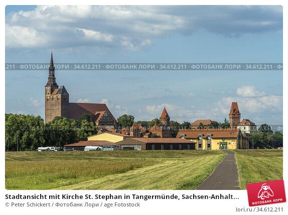 Stadtansicht mit Kirche St. Stephan in Tangermünde, Sachsen-Anhalt... Стоковое фото, фотограф Peter Schickert / age Fotostock / Фотобанк Лори