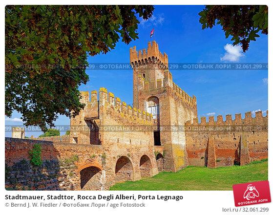 Stadtmauer, Stadttor, Rocca Degli Alberi, Porta Legnago. Стоковое фото, фотограф Bernd J. W. Fiedler / age Fotostock / Фотобанк Лори