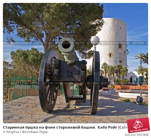 Старинная пушка на фоне сторожевой башни.  Кабо Ройг (Cabo Roig), Испания, фото № 257839, снято 17 января 2017 г. (c) GrayFox / Фотобанк Лори