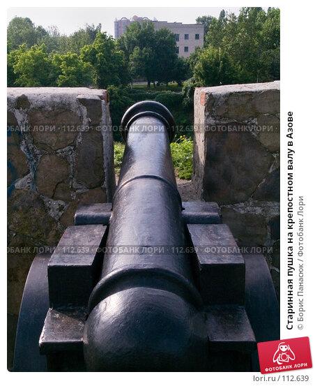 Купить «Старинная пушка на крепостном валу в Азове», фото № 112639, снято 12 июня 2006 г. (c) Борис Панасюк / Фотобанк Лори