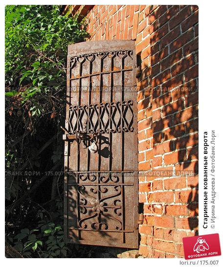 Старинные кованные ворота, фото № 175007, снято 11 августа 2007 г. (c) Ирина Андреева / Фотобанк Лори