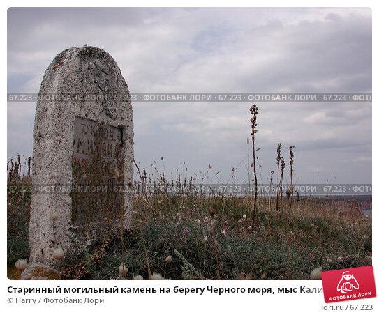 Старинный могильный камень на берегу Черного моря, мыс Калиакра, Болгария, фото № 67223, снято 30 июля 2004 г. (c) Harry / Фотобанк Лори