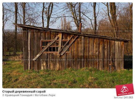 Купить «Старый деревянный сарай», фото № 241083, снято 27 апреля 2018 г. (c) Кравецкий Геннадий / Фотобанк Лори