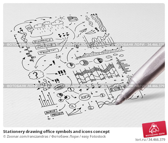 Stationery drawing office symbols and icons concept. Стоковое фото, фотограф Zoonar.com/ranczandras / easy Fotostock / Фотобанк Лори