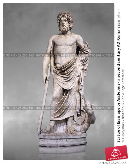 Купить «Statue of Esculape or Asclepius - a second century AD Roman sculpture. Asclepius represents the healing aspect of the medical arts, his daughters included...», фото № 28250143, снято 1 апреля 2017 г. (c) age Fotostock / Фотобанк Лори