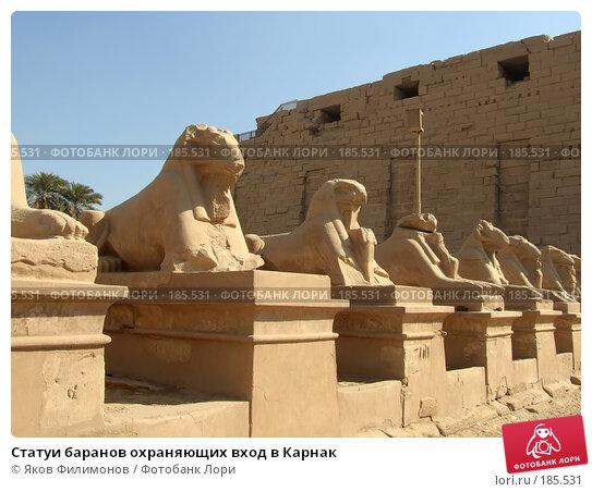 Статуи баранов охраняющих вход в Карнак, фото № 185531, снято 15 января 2008 г. (c) Яков Филимонов / Фотобанк Лори