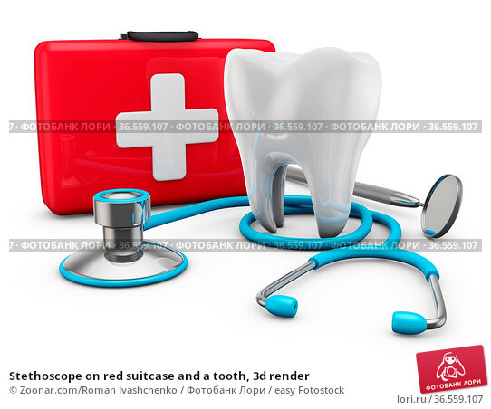 Stethoscope on red suitcase and a tooth, 3d render. Стоковое фото, фотограф Zoonar.com/Roman Ivashchenko / easy Fotostock / Фотобанк Лори
