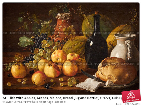 'Still life with Apples, Grapes, Melons, Bread, Jug and ...