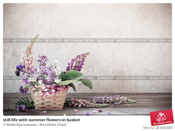 Купить «still life with summer flowers in basket», фото № 26024503, снято 29 мая 2016 г. (c) Майя Крученкова / Фотобанк Лори