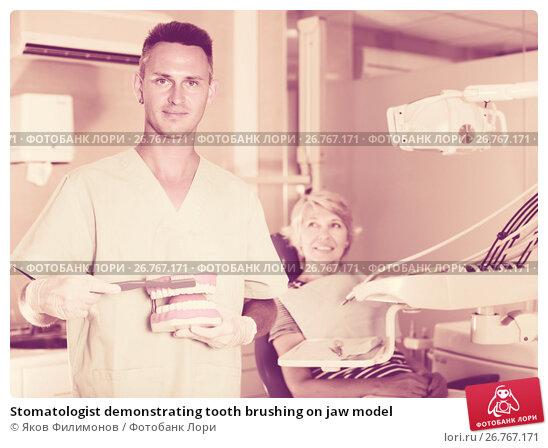 Купить «Stomatologist demonstrating tooth brushing on jaw model», фото № 26767171, снято 5 июля 2017 г. (c) Яков Филимонов / Фотобанк Лори