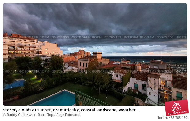 Stormy clouds at sunset, dramatic sky, coastal landscape, weather... Стоковое фото, фотограф Ruddy Gold / age Fotostock / Фотобанк Лори