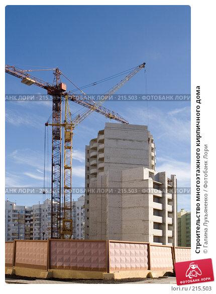 Строительство многоэтажного кирпичного дома, эксклюзивное фото № 215503, снято 5 марта 2008 г. (c) Галина Лукьяненко / Фотобанк Лори