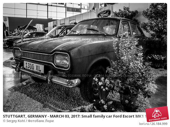 "Купить «STUTTGART, GERMANY - MARCH 03, 2017: Small family car Ford Escort MK1 1300 XL, 1970. Black and white. Europe's greatest classic car exhibition ""RETRO CLASSICS""», фото № 26184999, снято 3 марта 2017 г. (c) Sergey Kohl / Фотобанк Лори"