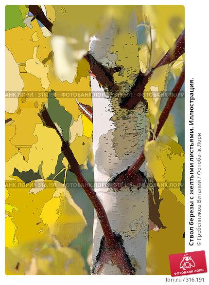 Ствол березы с желтыми листьями. Иллюстрация., иллюстрация № 316191 (c) Гребенников Виталий / Фотобанк Лори