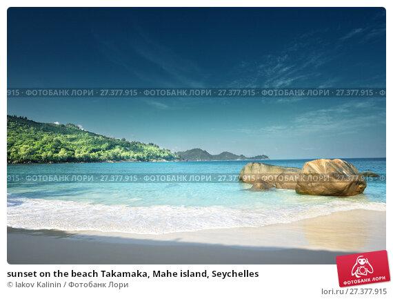Купить «sunset on the beach Takamaka, Mahe island, Seychelles», фото № 27377915, снято 9 февраля 2016 г. (c) Iakov Kalinin / Фотобанк Лори
