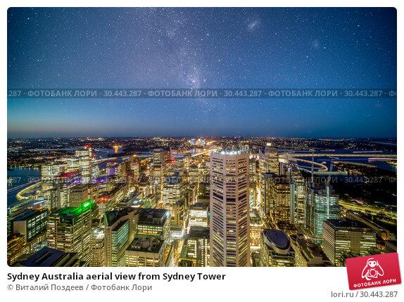 Купить «Sydney Australia aerial view from Sydney Tower», фото № 30443287, снято 14 февраля 2019 г. (c) Виталий Поздеев / Фотобанк Лори