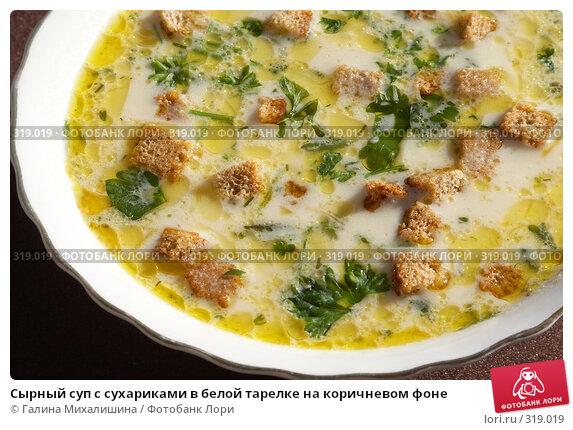 Сырный суп с сухариками в белой тарелке на коричневом фоне, фото № 319019, снято 3 апреля 2005 г. (c) Галина Михалишина / Фотобанк Лори