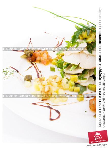 Тарелка с салатом из мяса, кукурузы, ананасов, зелени, орехов и соуса, фото № 201347, снято 12 февраля 2008 г. (c) Баевский Дмитрий / Фотобанк Лори