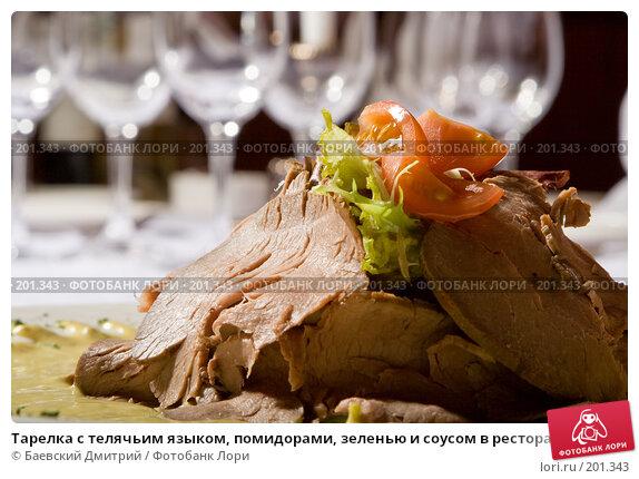 Тарелка с телячьим языком, помидорами, зеленью и соусом в ресторане, фото № 201343, снято 12 февраля 2008 г. (c) Баевский Дмитрий / Фотобанк Лори