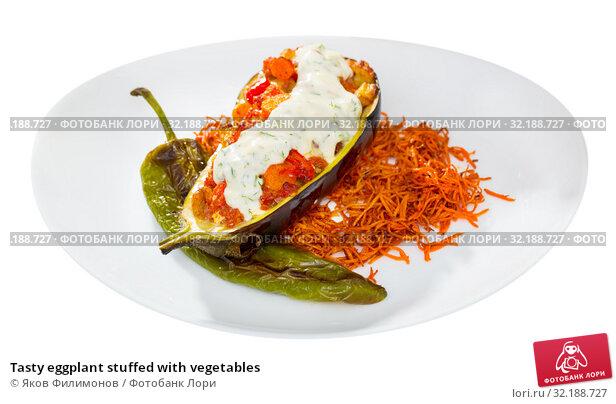 Купить «Tasty eggplant stuffed with vegetables», фото № 32188727, снято 18 февраля 2020 г. (c) Яков Филимонов / Фотобанк Лори