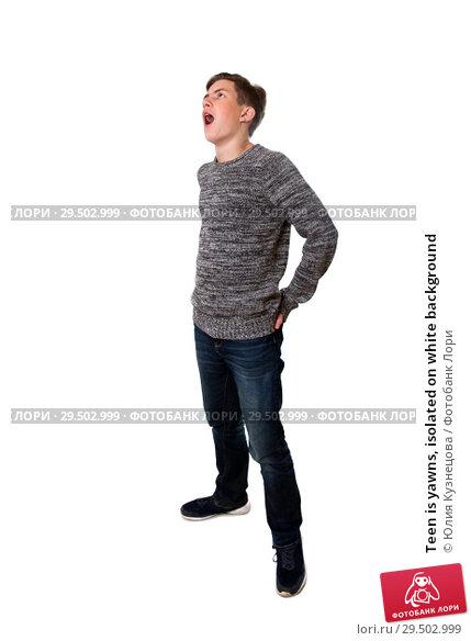 Купить «Teen is yawns, isolated on white background», фото № 29502999, снято 18 ноября 2018 г. (c) Юлия Кузнецова / Фотобанк Лори