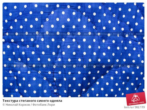 Купить «Текстура стеганого синего одеяла», фото № 302119, снято 29 марта 2008 г. (c) Николай Коржов / Фотобанк Лори