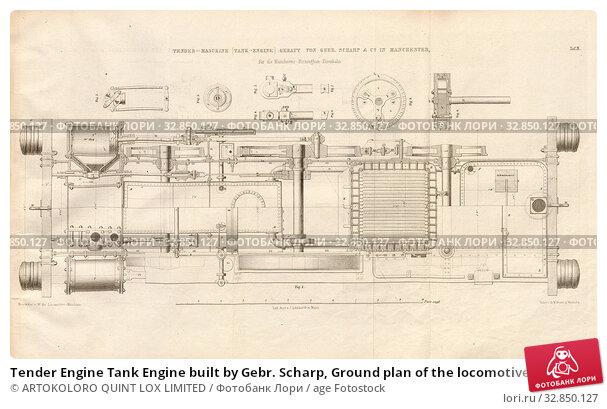 Купить «Tender Engine Tank Engine built by Gebr. Scharp, Ground plan of the locomotive of the Sharp, Roberts and Company in Manchester, signed: Heusinger v., W...», фото № 32850127, снято 5 июля 2020 г. (c) age Fotostock / Фотобанк Лори
