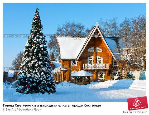 Терем Снегурочки и нарядная елка в городе Костроме (2012 год). Редакционное фото, фотограф ElenArt / Фотобанк Лори