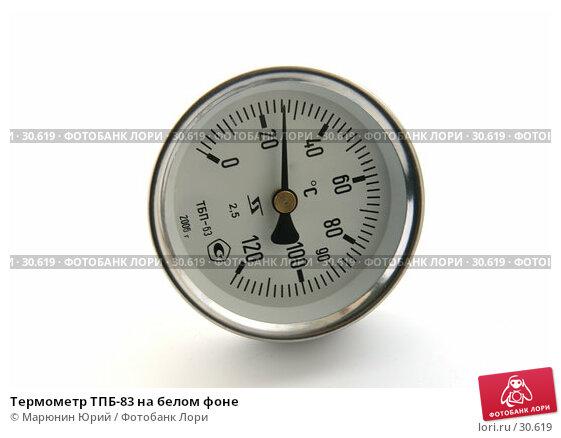 Термометр ТПБ-83 на белом фоне, фото № 30619, снято 7 апреля 2007 г. (c) Марюнин Юрий / Фотобанк Лори