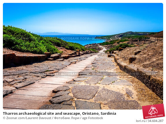 Tharros archaeological site and seascape, Oristano, Sardinia. Стоковое фото, фотограф Zoonar.com/Laurent Davoust / age Fotostock / Фотобанк Лори